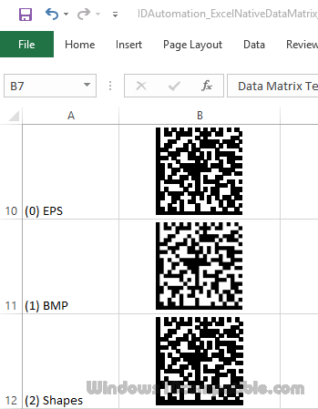 Data Matrix Excel Barcode Generator 16 05 Free download